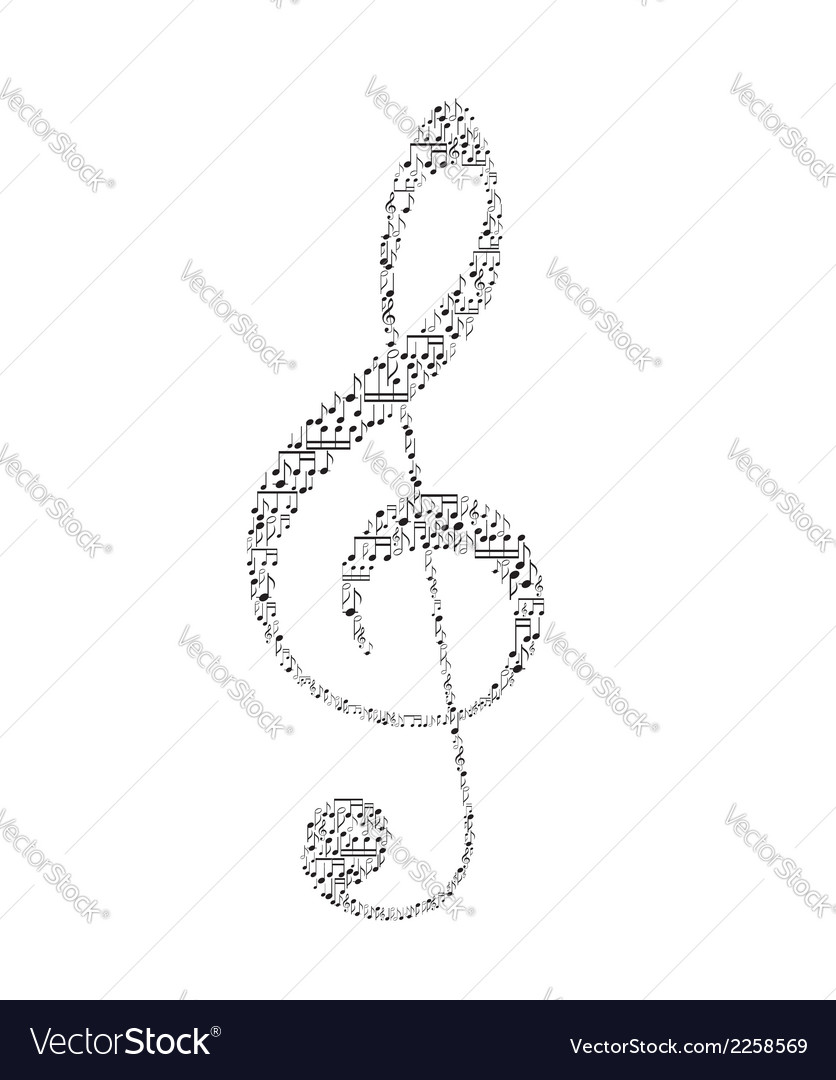 Treble clef with music notes vector | Price: 1 Credit (USD $1)