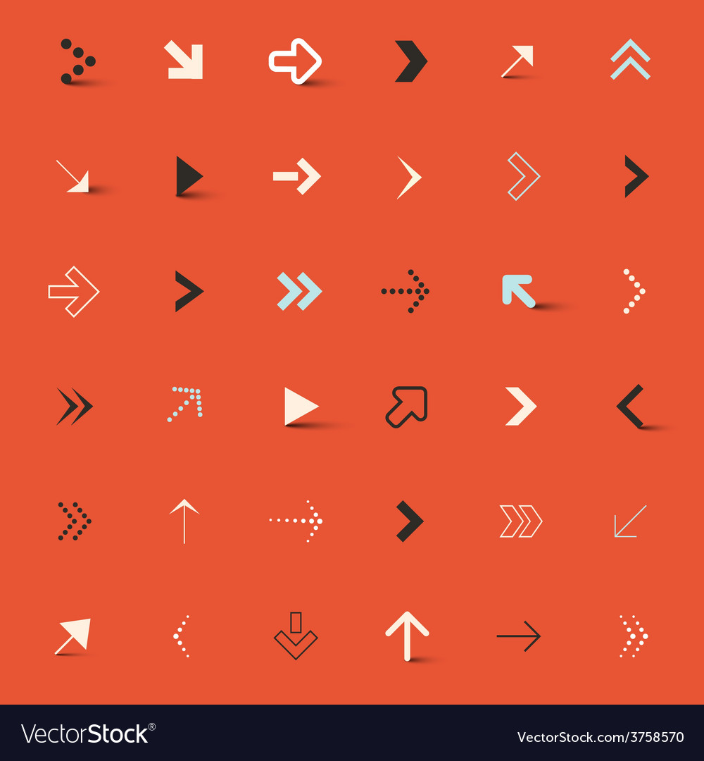 Arrows set on red retro background vector | Price: 1 Credit (USD $1)
