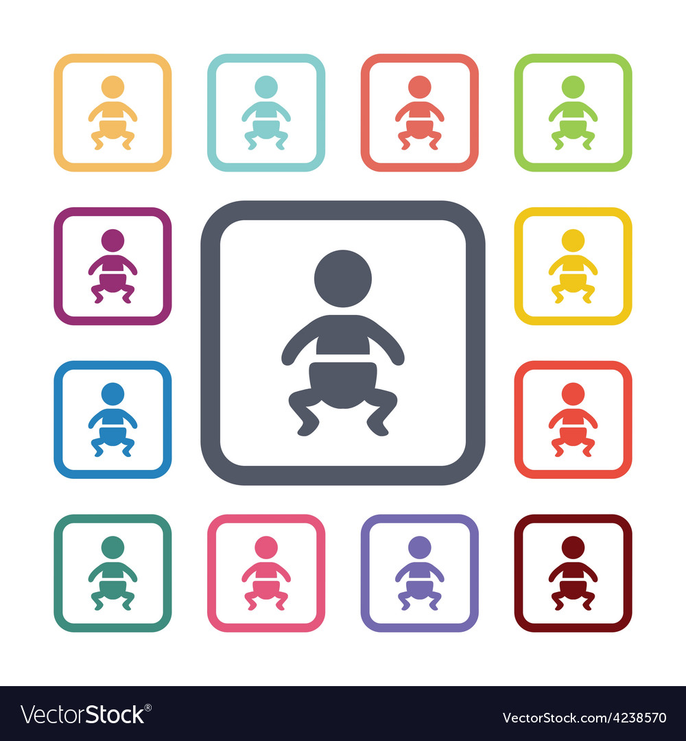 Baby flat icons set vector | Price: 1 Credit (USD $1)
