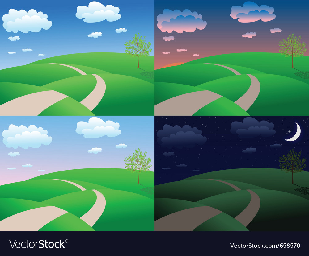 Calm summer landscape vector | Price: 1 Credit (USD $1)