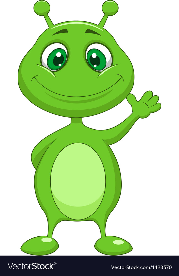 Cute green alien cartoon vector | Price: 1 Credit (USD $1)