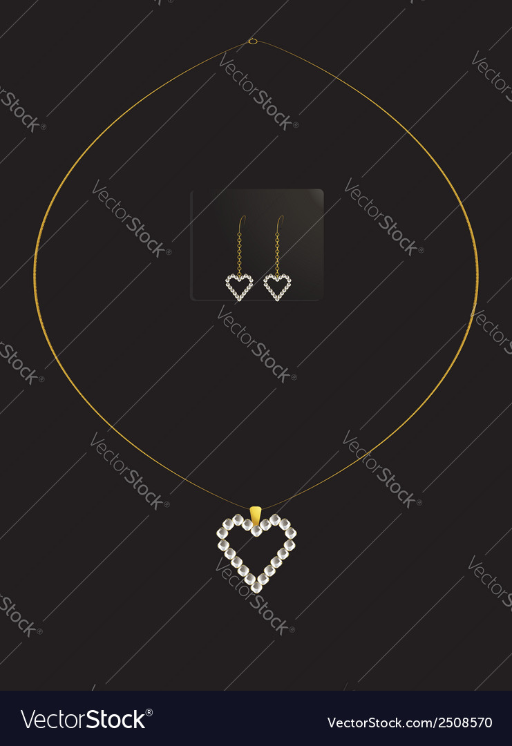 Elegant heart necklace set 1 vector | Price: 1 Credit (USD $1)