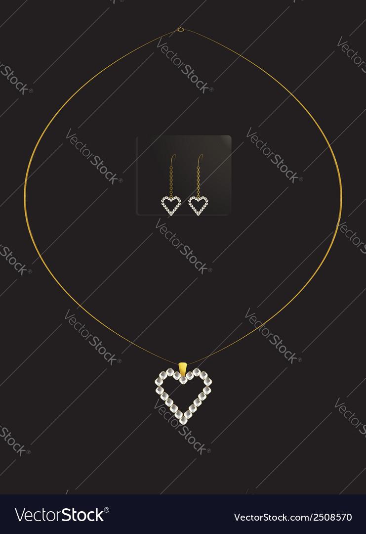 Elegant heart necklace set 1 vector | Price: 1 Credit (USD $1)