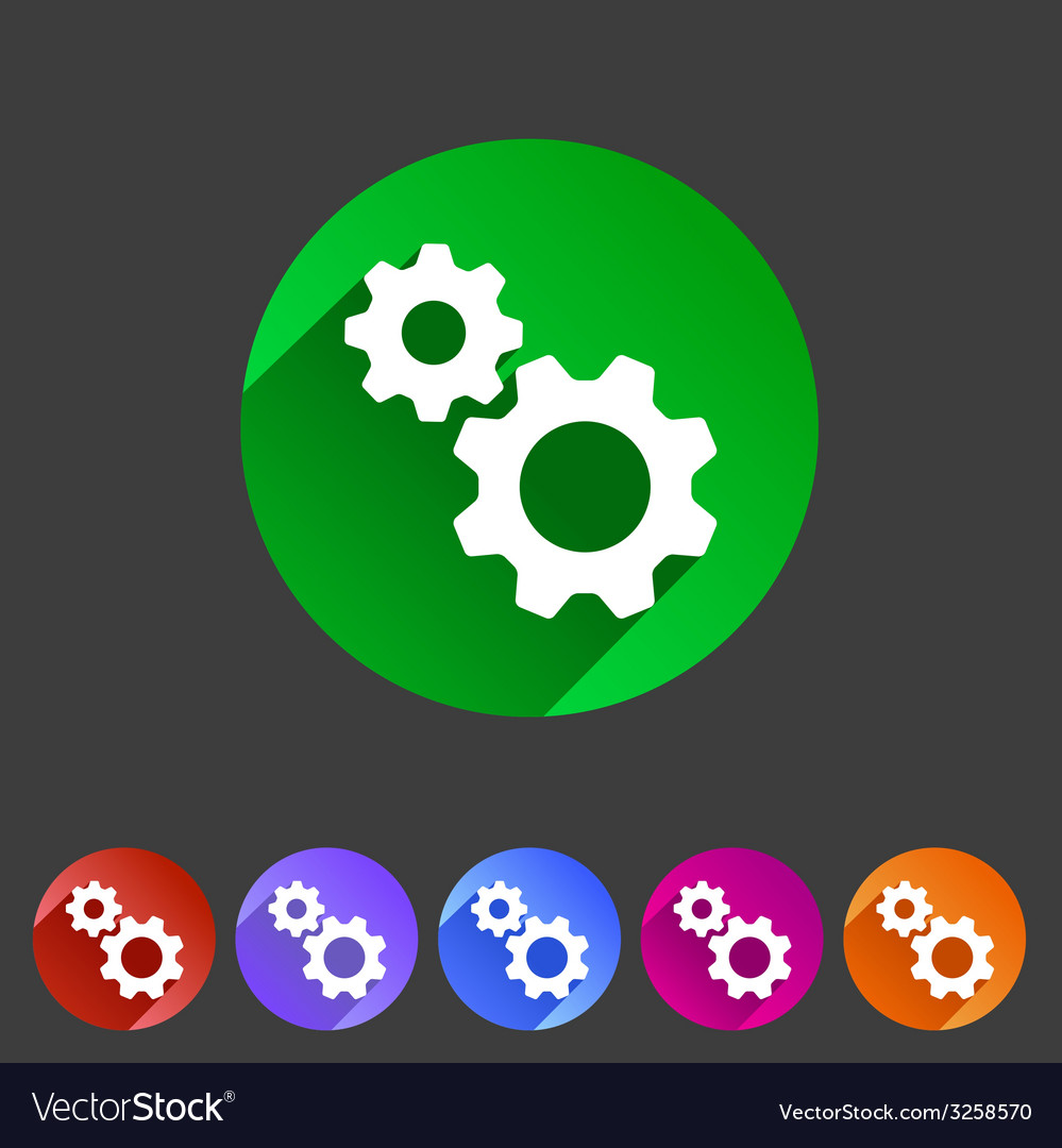 Gear settings flat icon vector | Price: 1 Credit (USD $1)