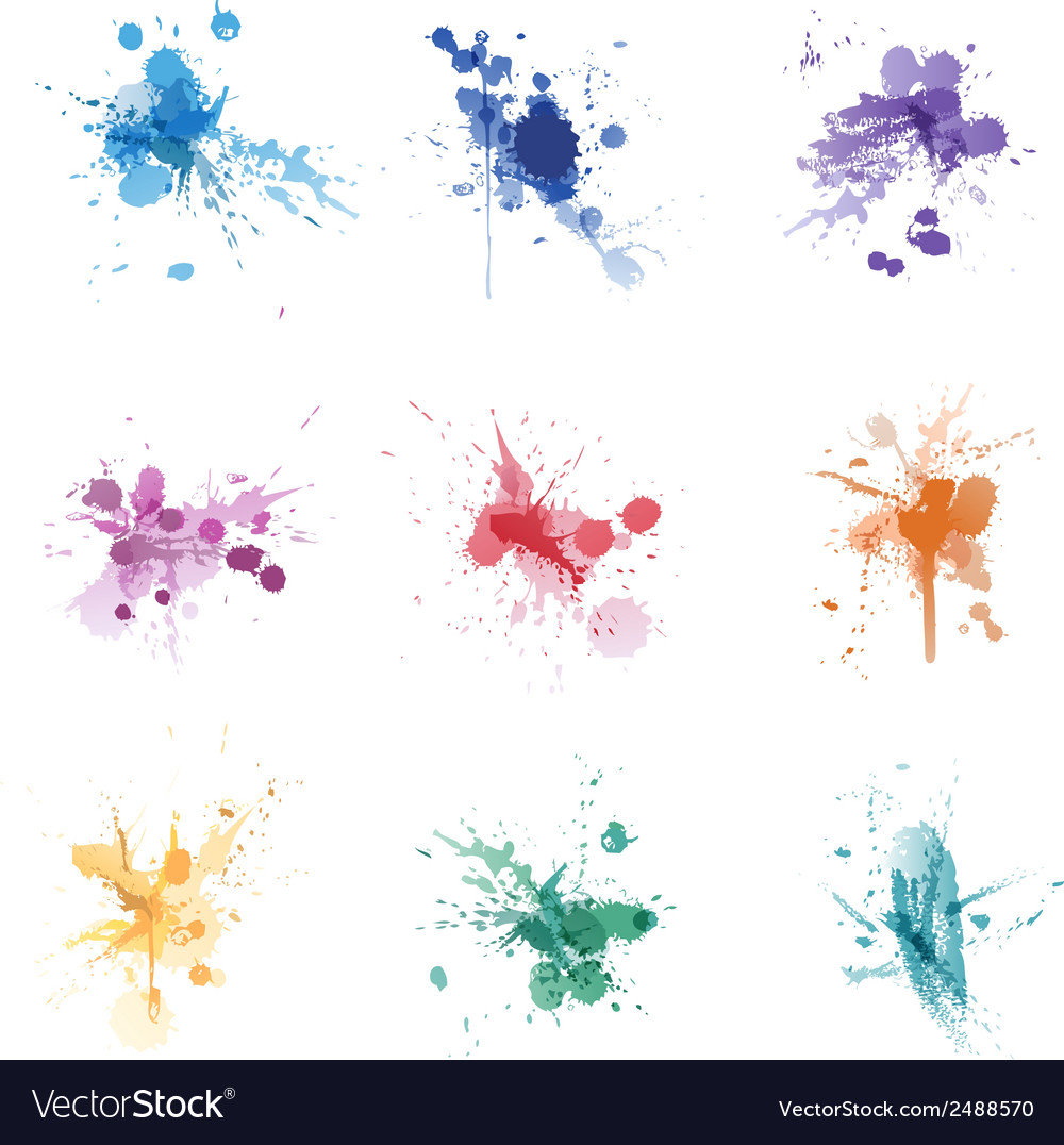 Paint splat colors set collection vector | Price: 1 Credit (USD $1)