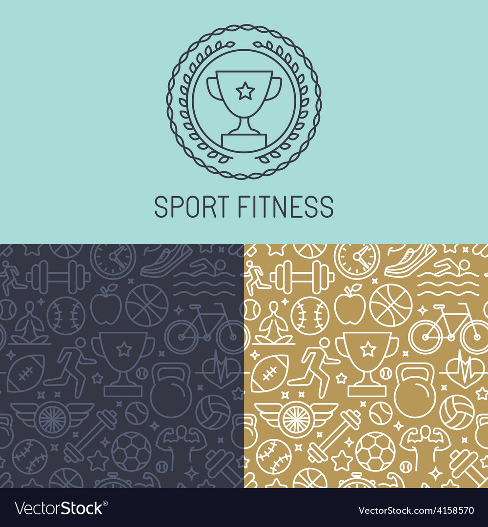 Sport badge and seamless pattern vector | Price: 1 Credit (USD $1)