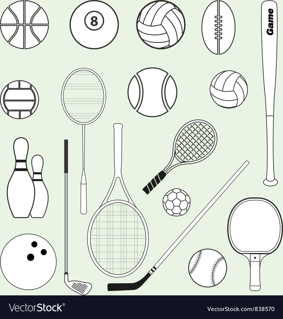Sports balls and equipment vector | Price: 1 Credit (USD $1)