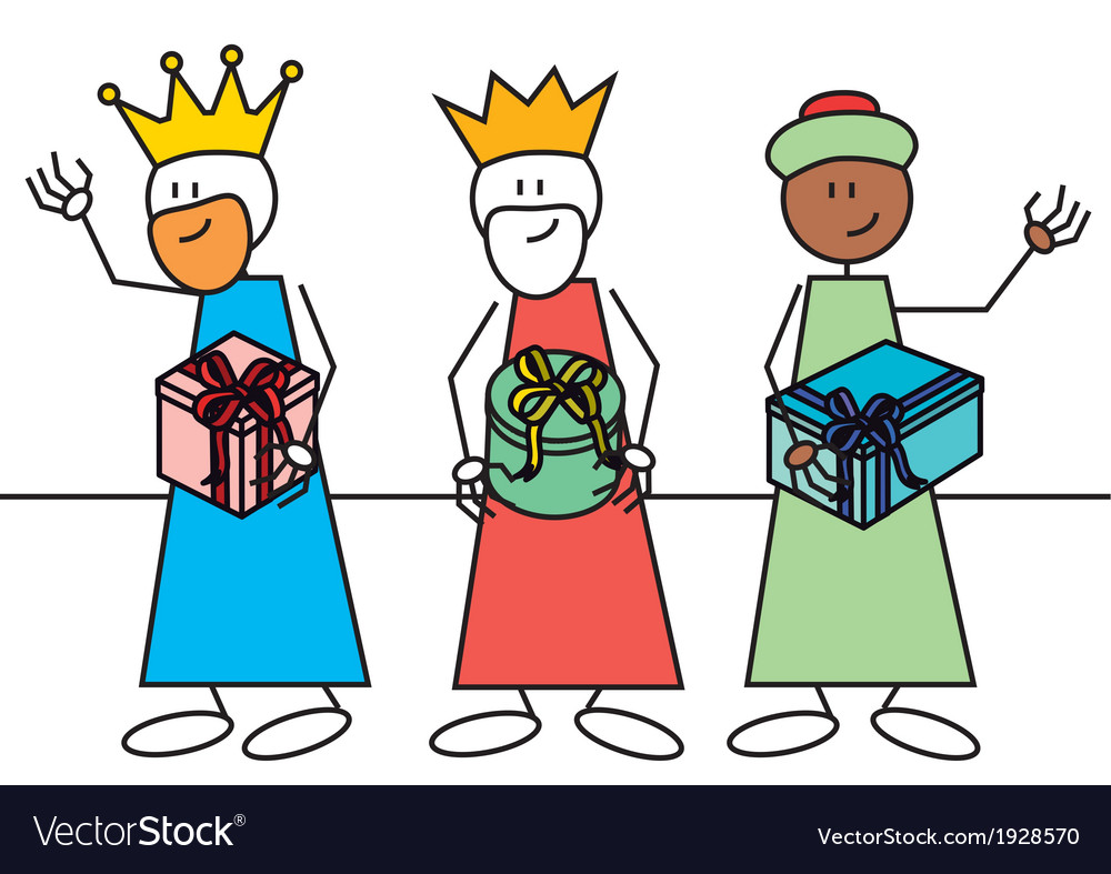 Stick figure three wise men gifts vector | Price: 1 Credit (USD $1)