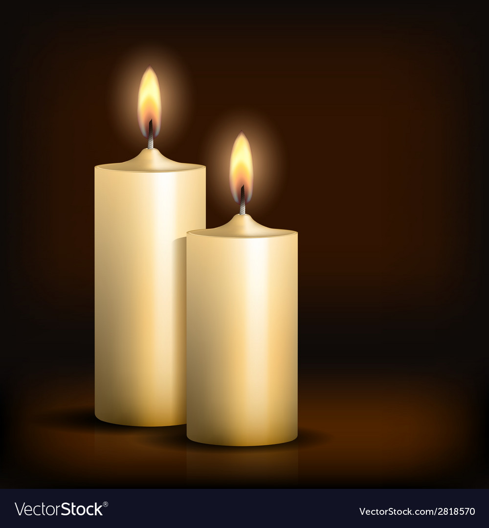 Two burning candles on black background vector | Price: 1 Credit (USD $1)