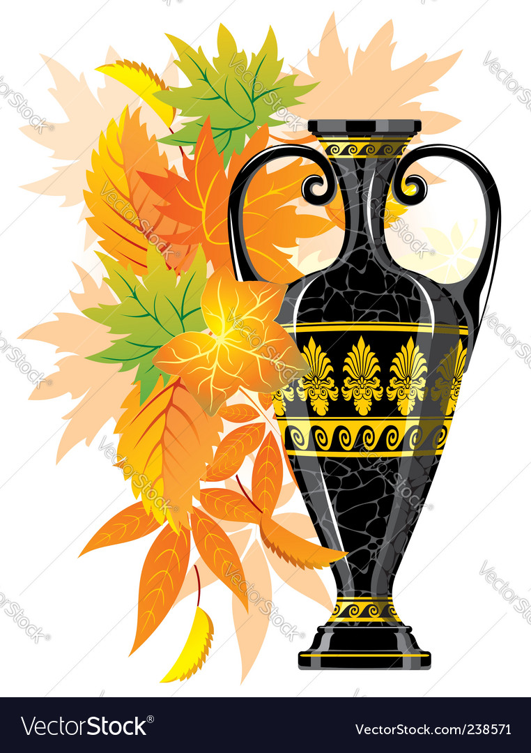 Antique amphora with autumn leaves vector | Price: 1 Credit (USD $1)