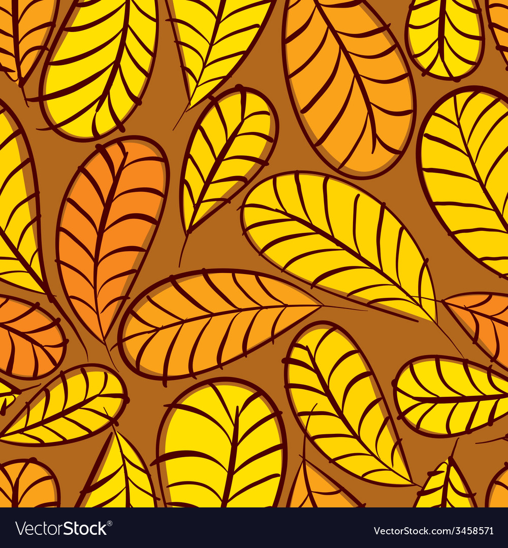 Autumn leaves seamless pattern floral seamless vector