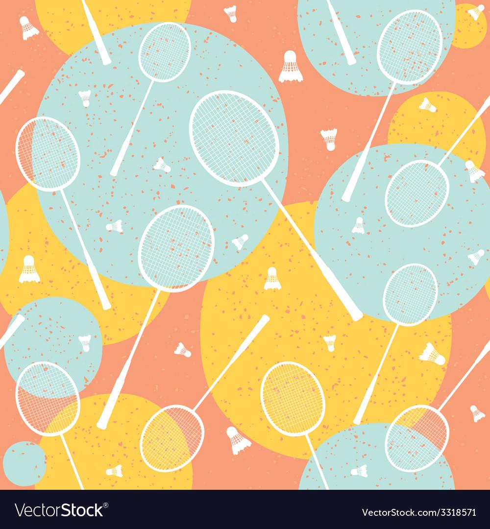 Badminton vintage seamless pattern vector | Price: 1 Credit (USD $1)