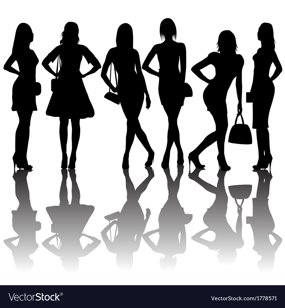 Fashion silhouettes of women vector | Price: 1 Credit (USD $1)