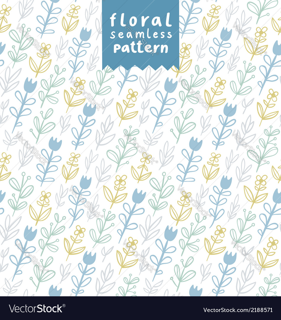 Gentle field flowers pattern vector | Price: 1 Credit (USD $1)