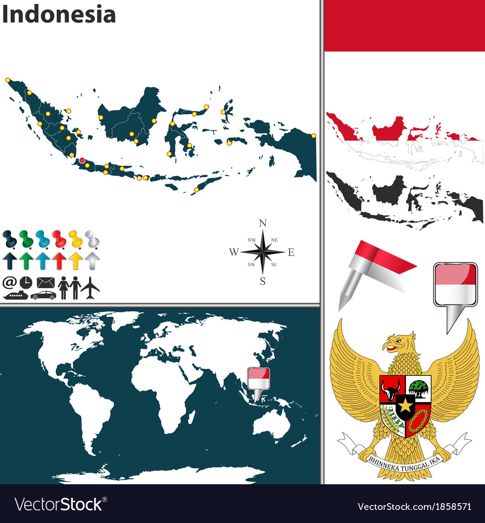 Indonesia map world vector | Price: 1 Credit (USD $1)