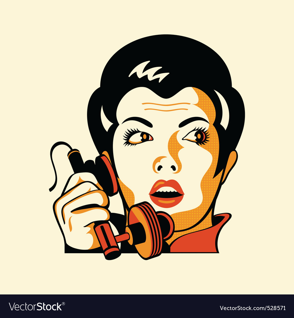 Retro phone woman vector | Price: 1 Credit (USD $1)