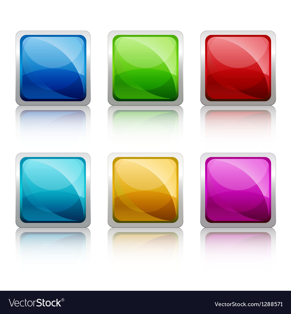 Set of colourful square glass botton vector | Price: 1 Credit (USD $1)