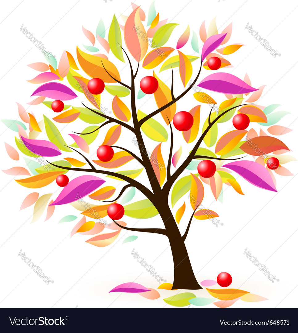 Stylized apple tree vector | Price: 1 Credit (USD $1)