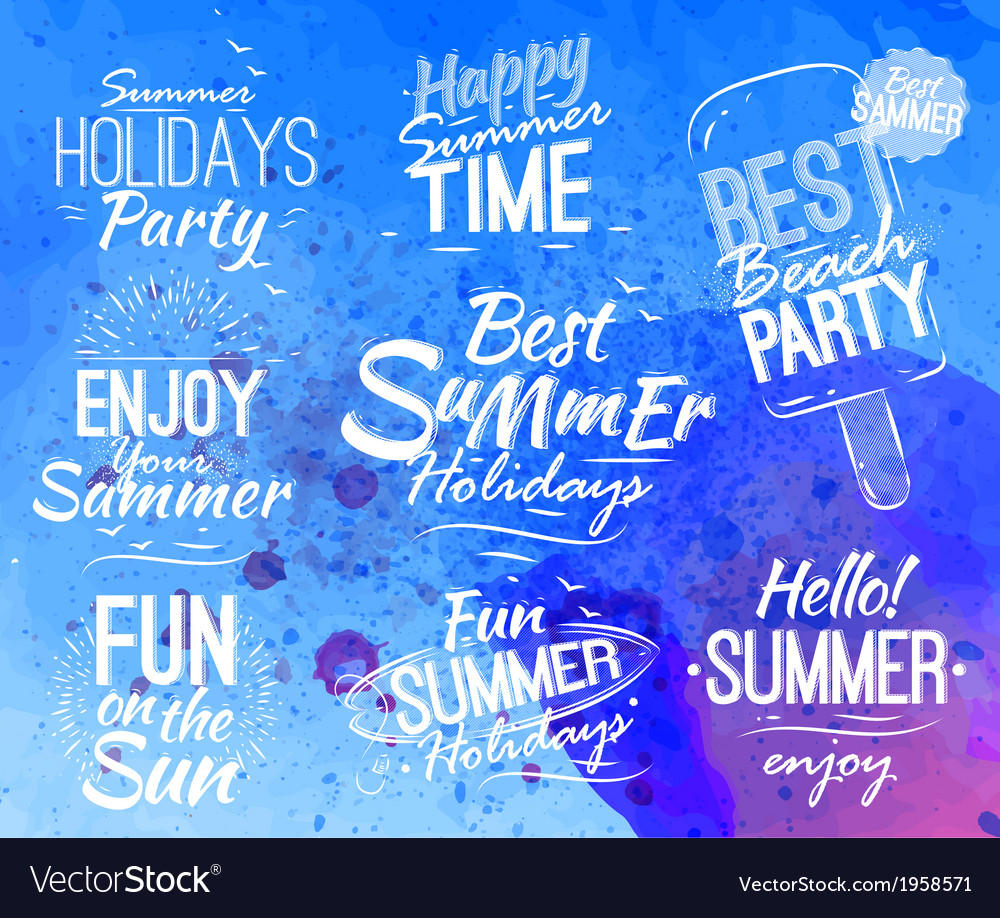 Summer set lettering vector | Price: 1 Credit (USD $1)