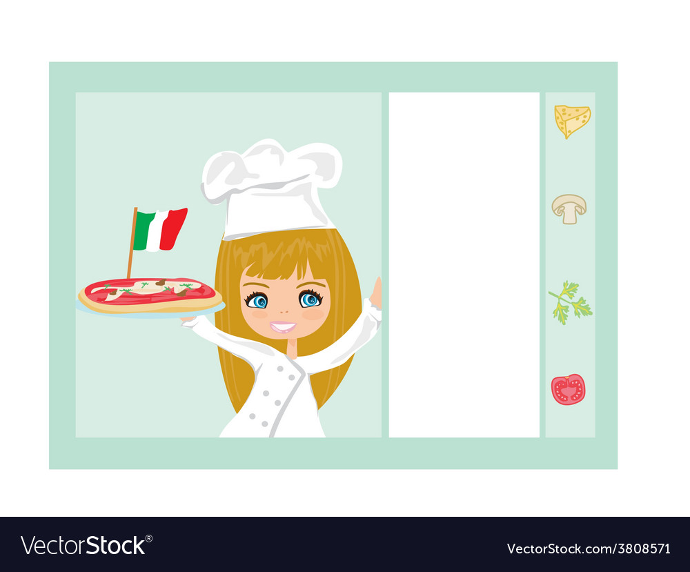 Sweet girl serving pizza vector | Price: 1 Credit (USD $1)