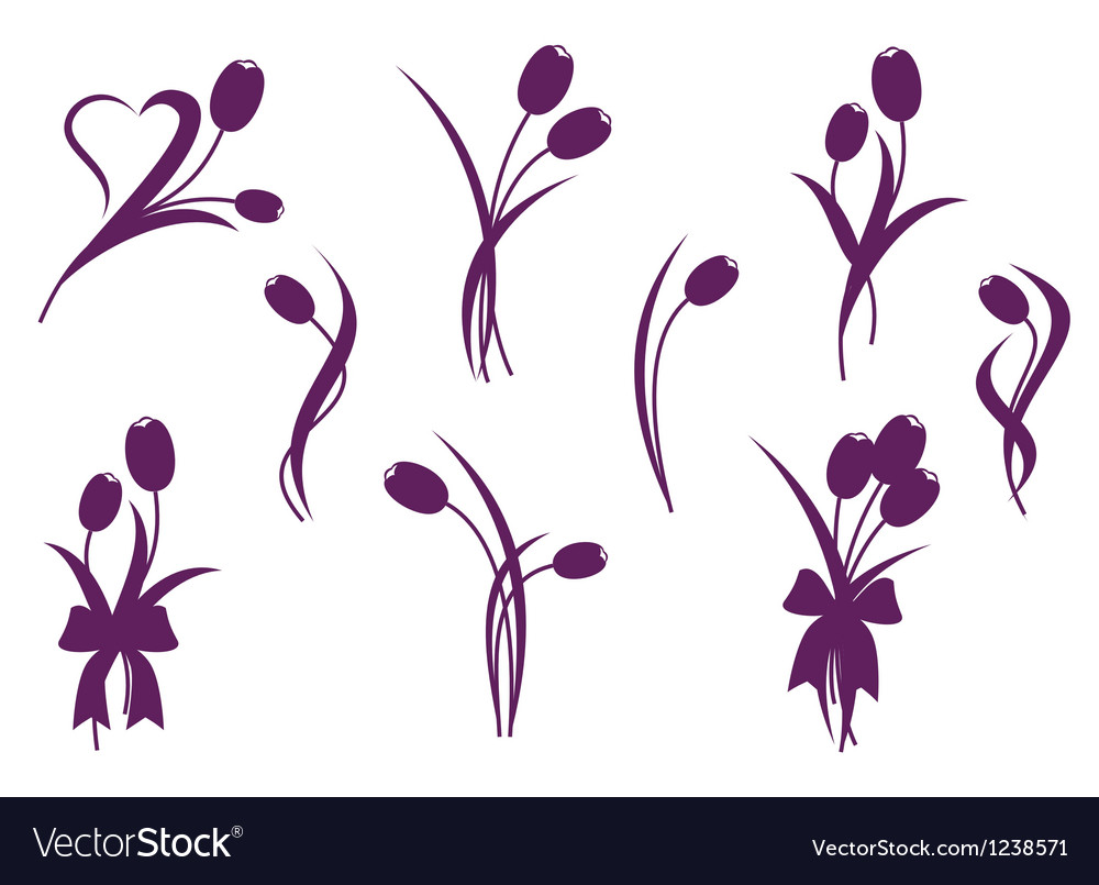 Tulip design elements vector | Price: 1 Credit (USD $1)