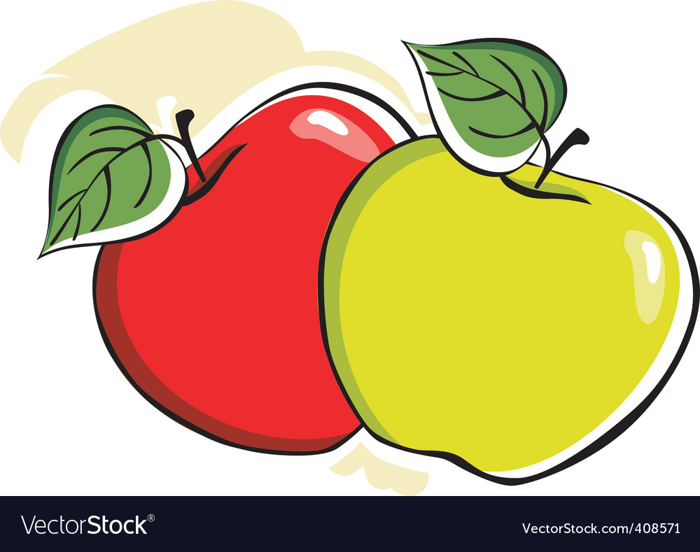 Two apple with leafs vector | Price: 1 Credit (USD $1)