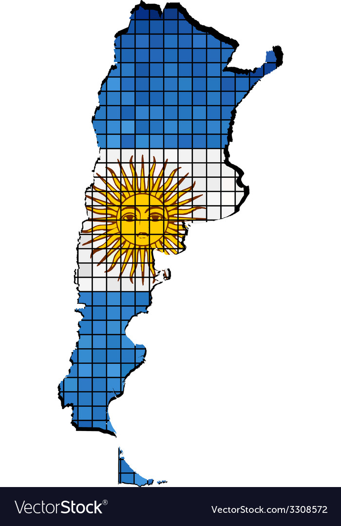 Argentina map with flag inside vector | Price: 1 Credit (USD $1)