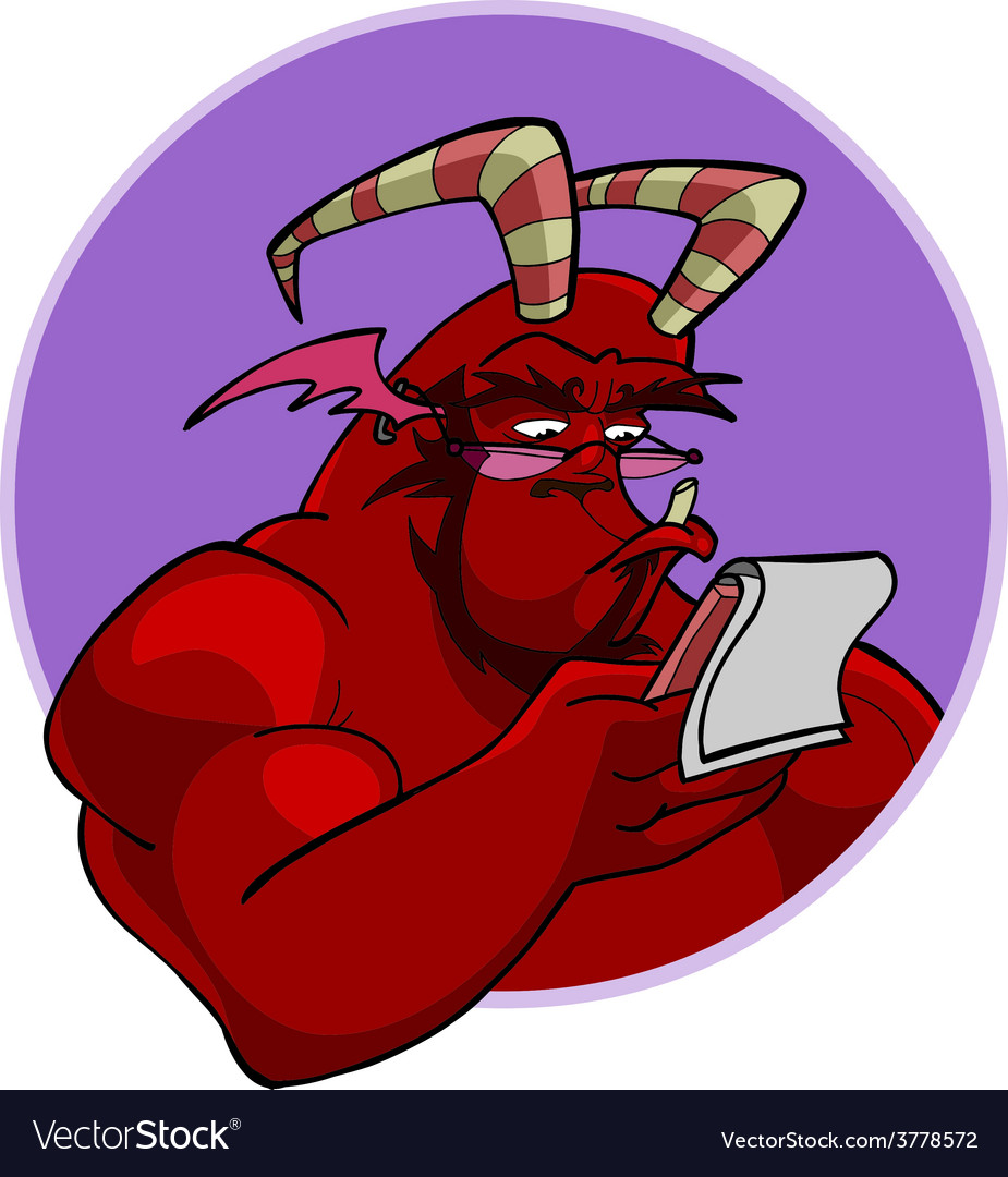 Cartoon red horned demon reads vector | Price: 3 Credit (USD $3)