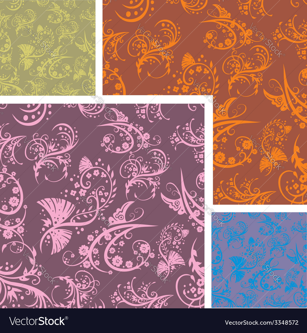 Chinese floral - seamless pattern set vector | Price: 1 Credit (USD $1)
