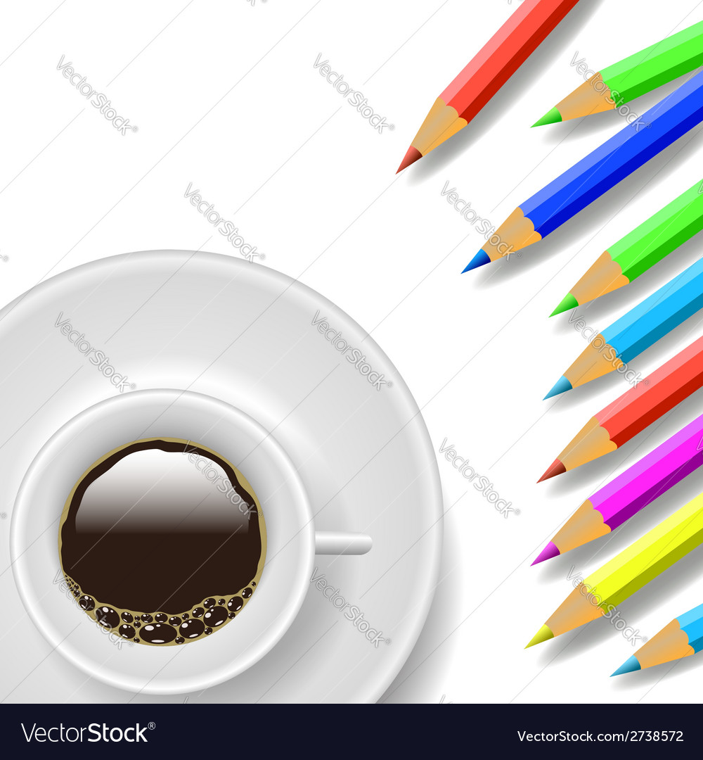 Coffee cup and pencils vector | Price: 1 Credit (USD $1)