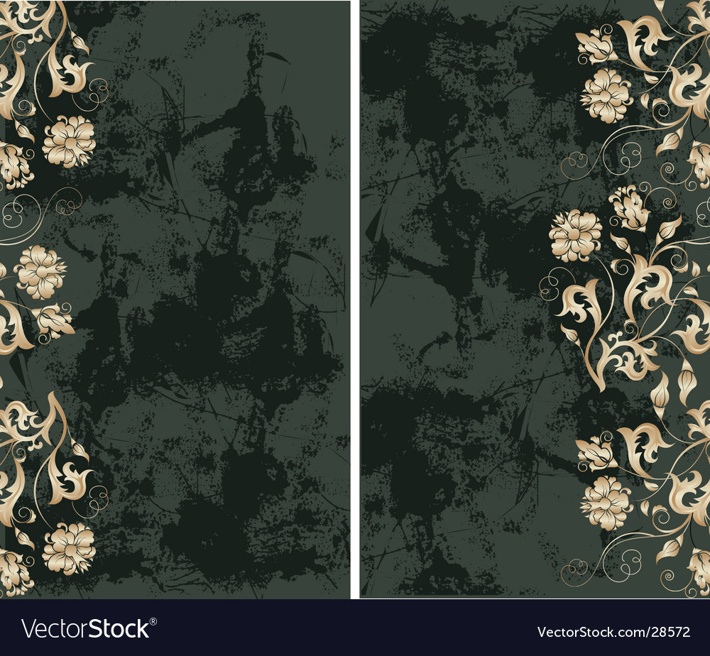 Grunge background with gold flowers vector | Price: 1 Credit (USD $1)