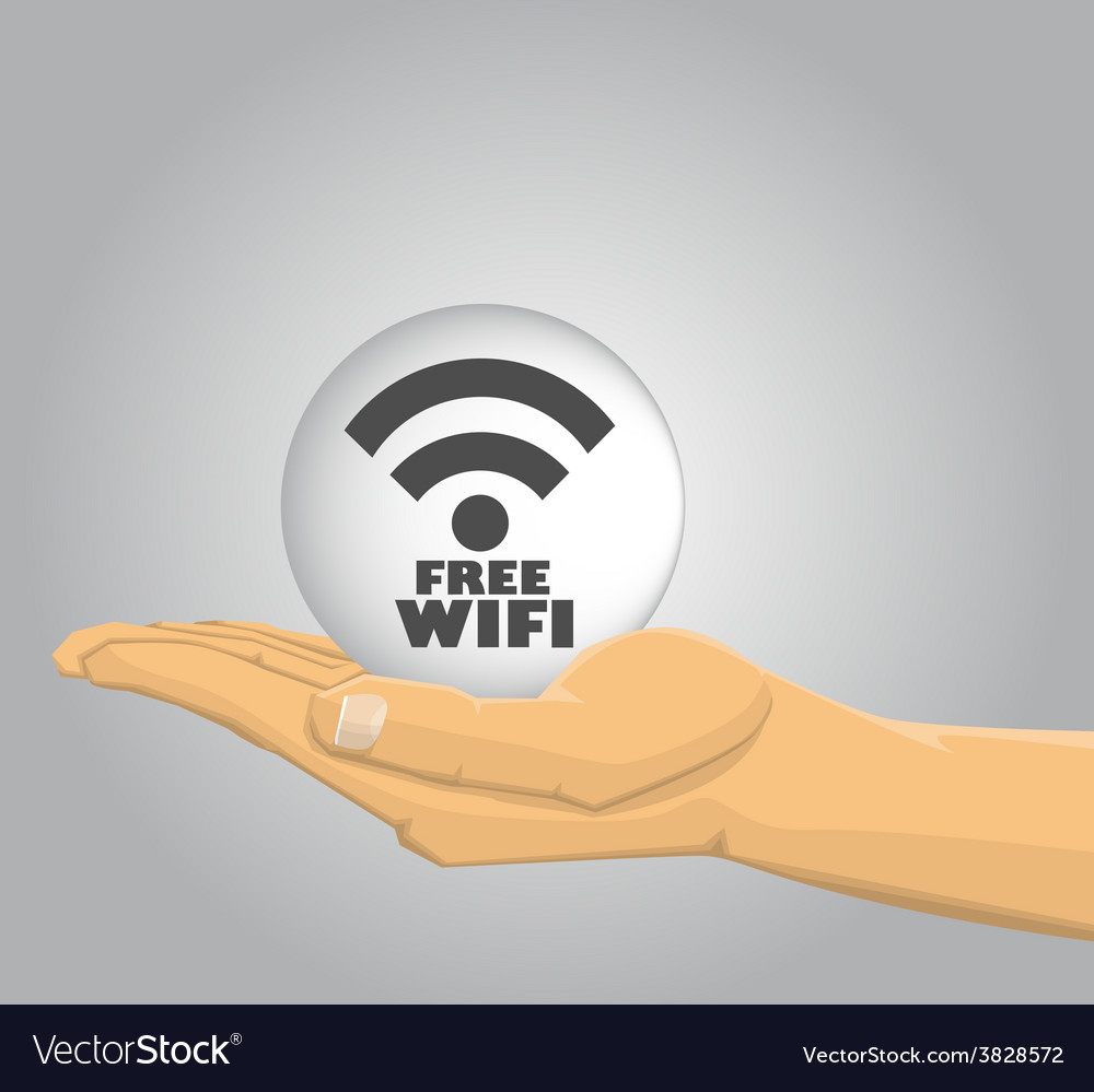 Hand holding a free wifi ball vector | Price: 1 Credit (USD $1)