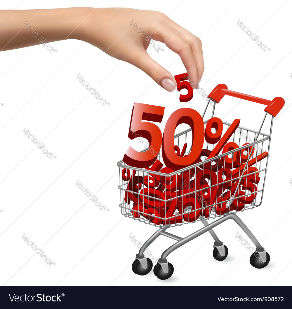 Hand with shopping cart with sale vector | Price: 3 Credit (USD $3)