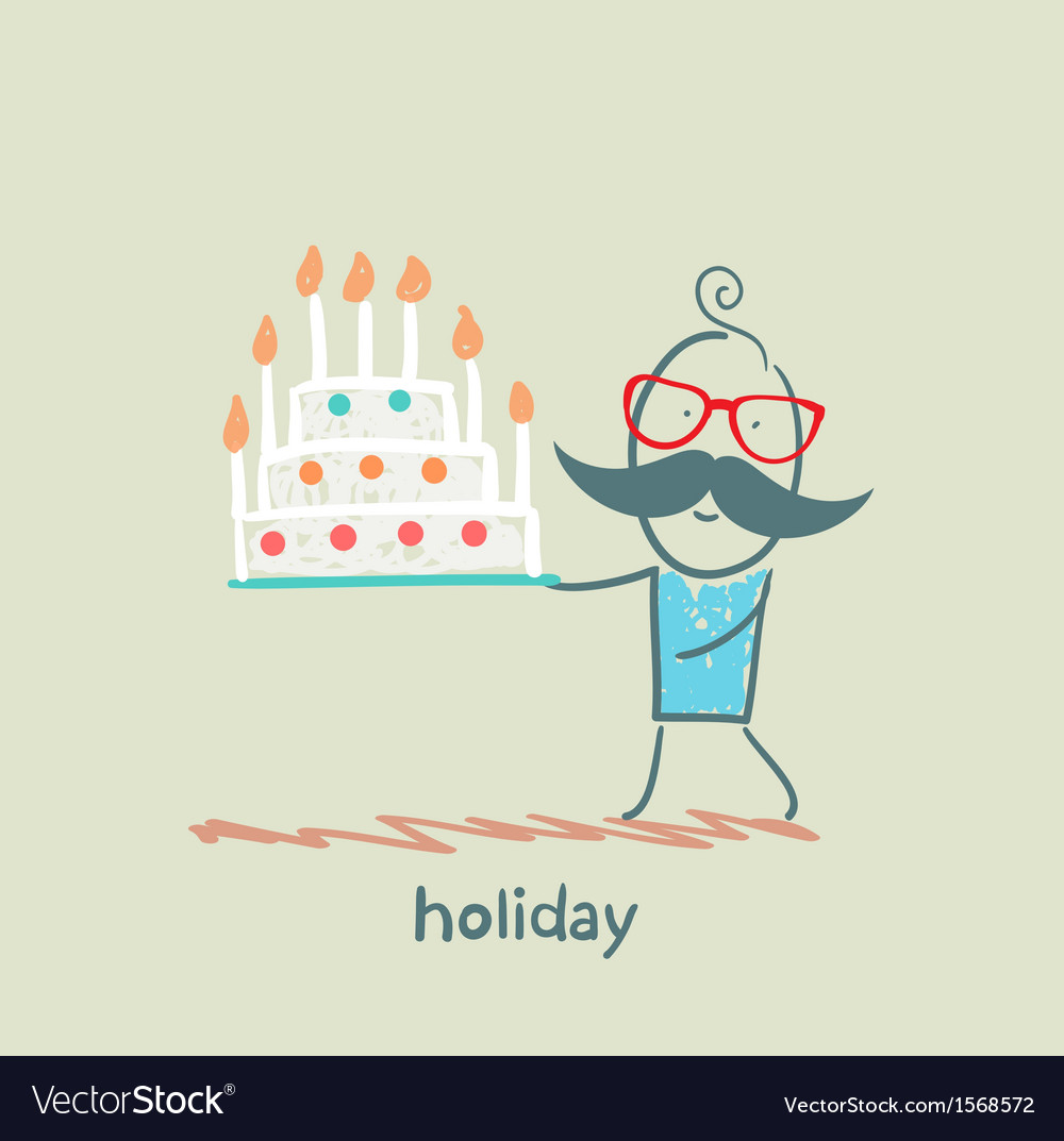 Holiday at the person with cake vector | Price: 1 Credit (USD $1)