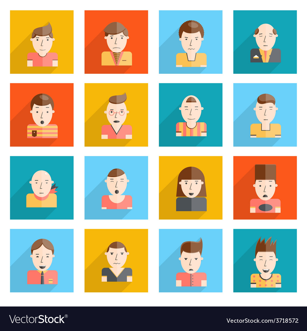 Man faces icons flat vector | Price: 1 Credit (USD $1)