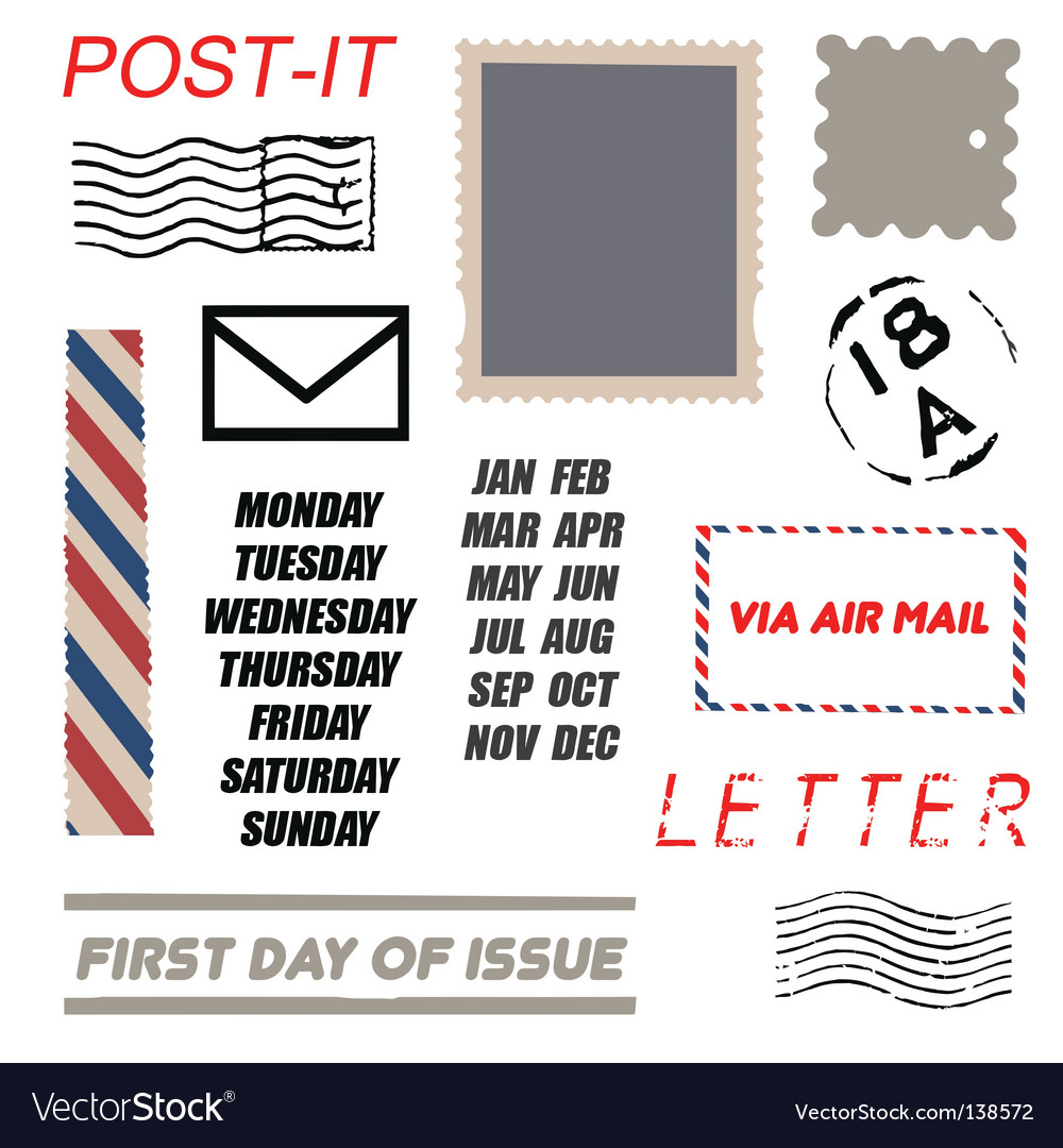Postal element set vector | Price: 1 Credit (USD $1)