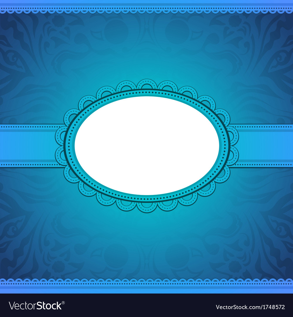 Squared label on blue floral background vector   Price: 1 Credit (USD $1)