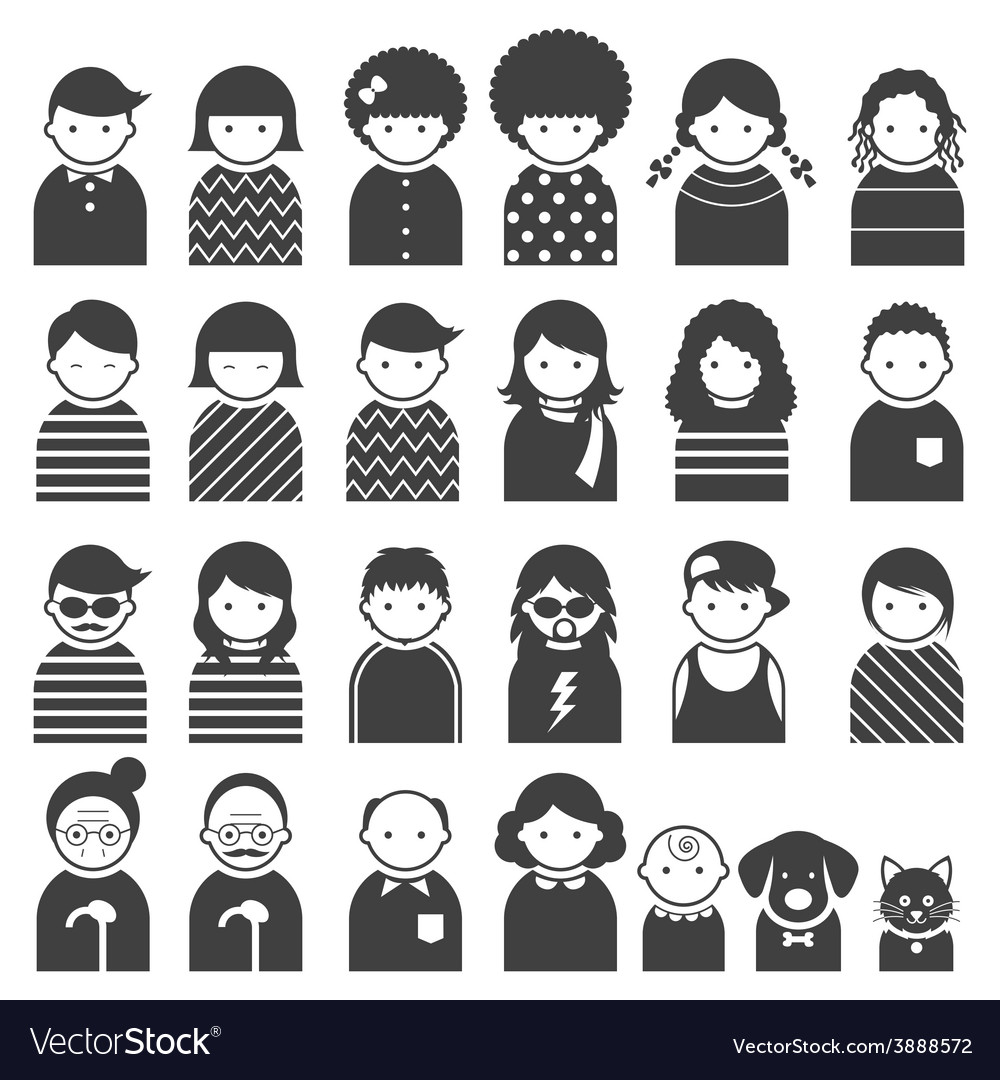 Various people symbol icons family set vector | Price: 1 Credit (USD $1)