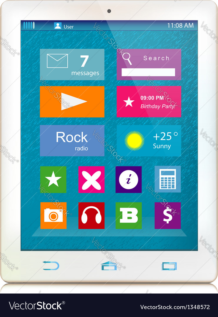 White tablet computer with color icons on display vector | Price: 1 Credit (USD $1)