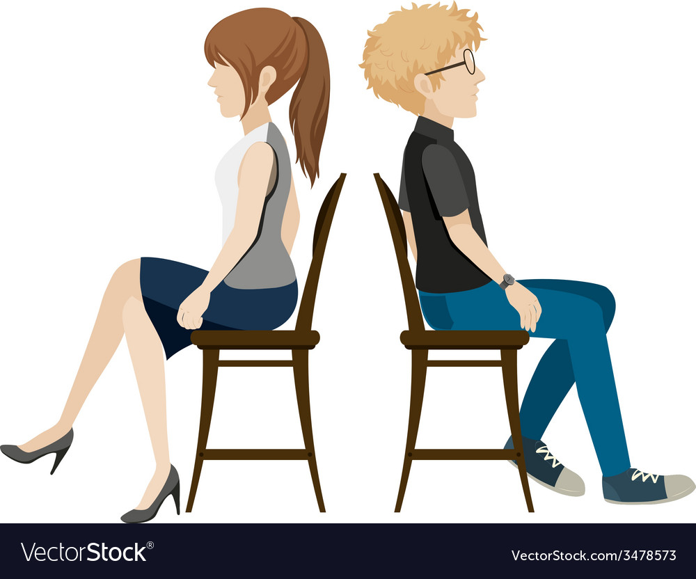 A boy and a girl sitting back to back vector | Price: 1 Credit (USD $1)