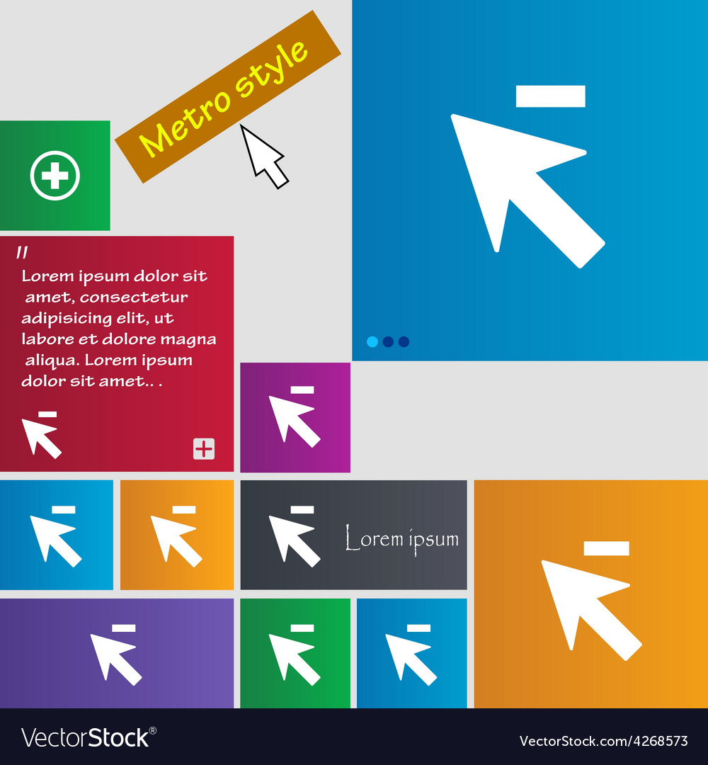 Cursor arrow minus icon sign metro style buttons vector | Price: 1 Credit (USD $1)
