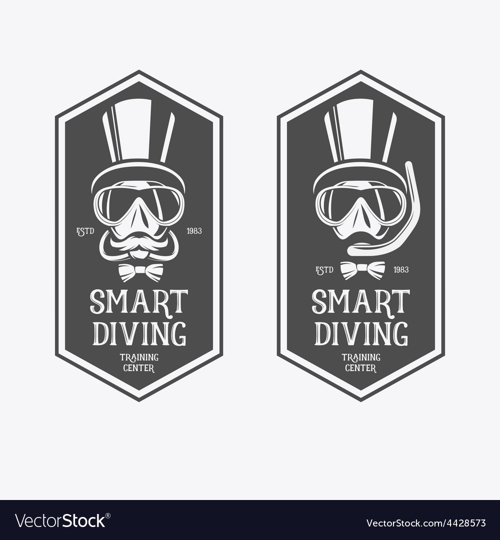 Diving vintage labels vector