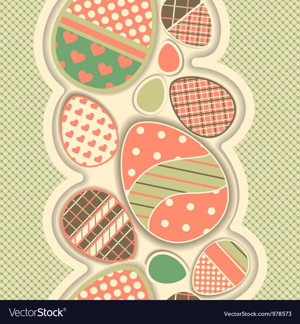 Easter retro seamless border with eggs vector | Price: 1 Credit (USD $1)