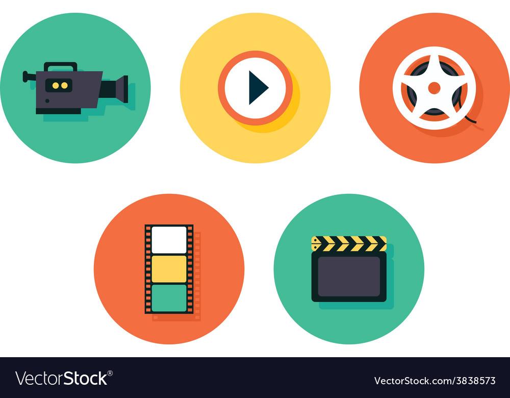 Film icons multimedia set vector | Price: 1 Credit (USD $1)