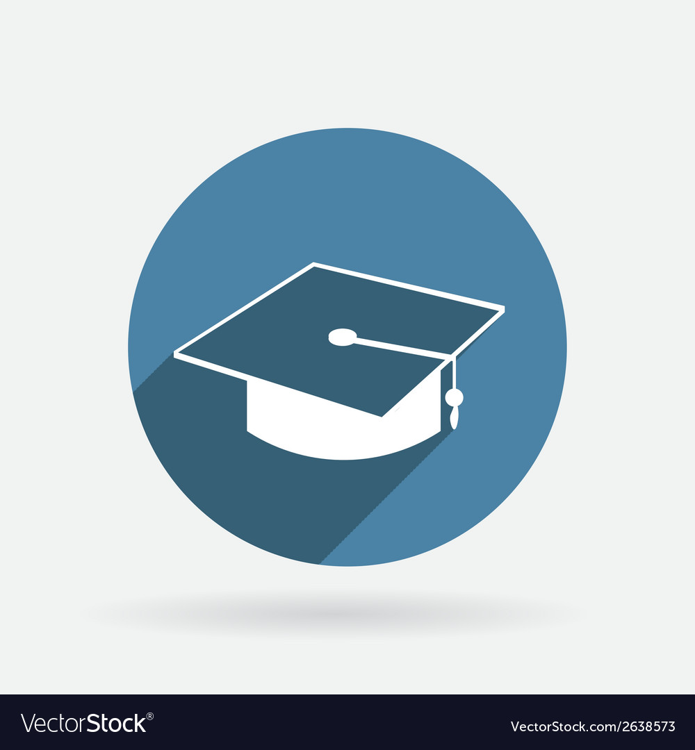 Graduate hat circle blue icon with shadow vector | Price: 1 Credit (USD $1)