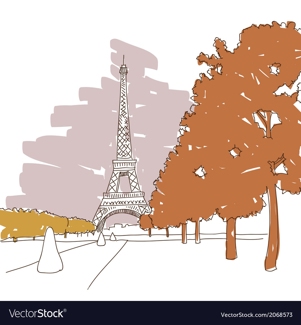 Hand drawn eiffel tower paris vector | Price: 1 Credit (USD $1)