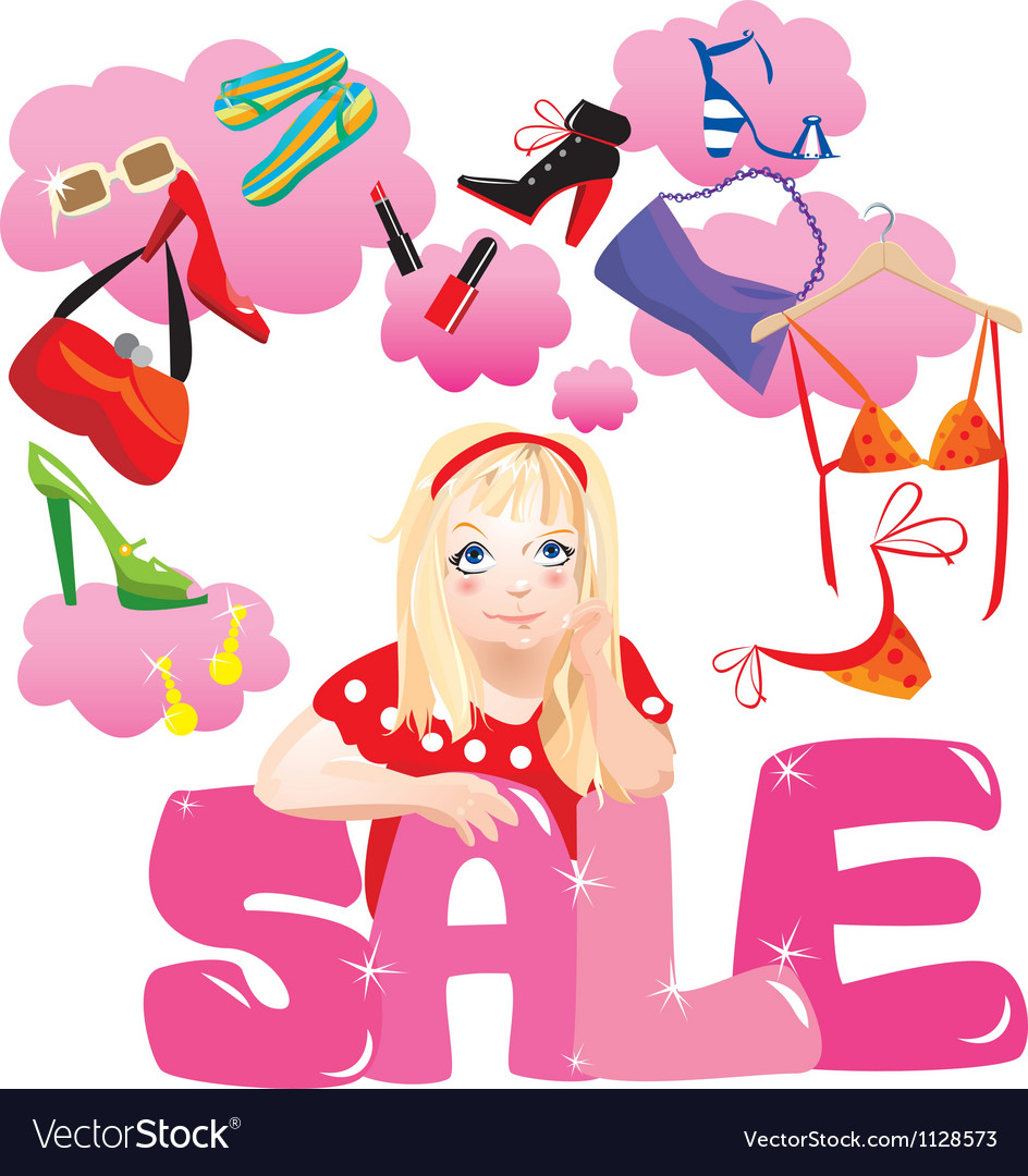 Shopping girl making decision what to buy vector | Price: 1 Credit (USD $1)