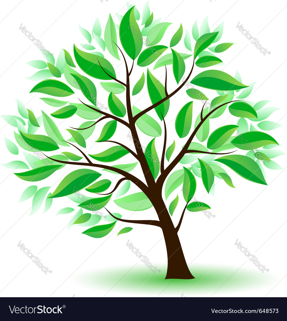 Stylized tree with green leaves vector | Price: 1 Credit (USD $1)