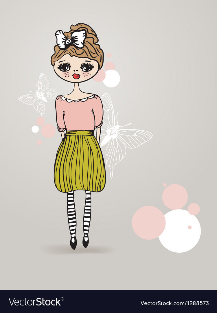 Vintage card with cute hand drawn girl vector | Price: 1 Credit (USD $1)