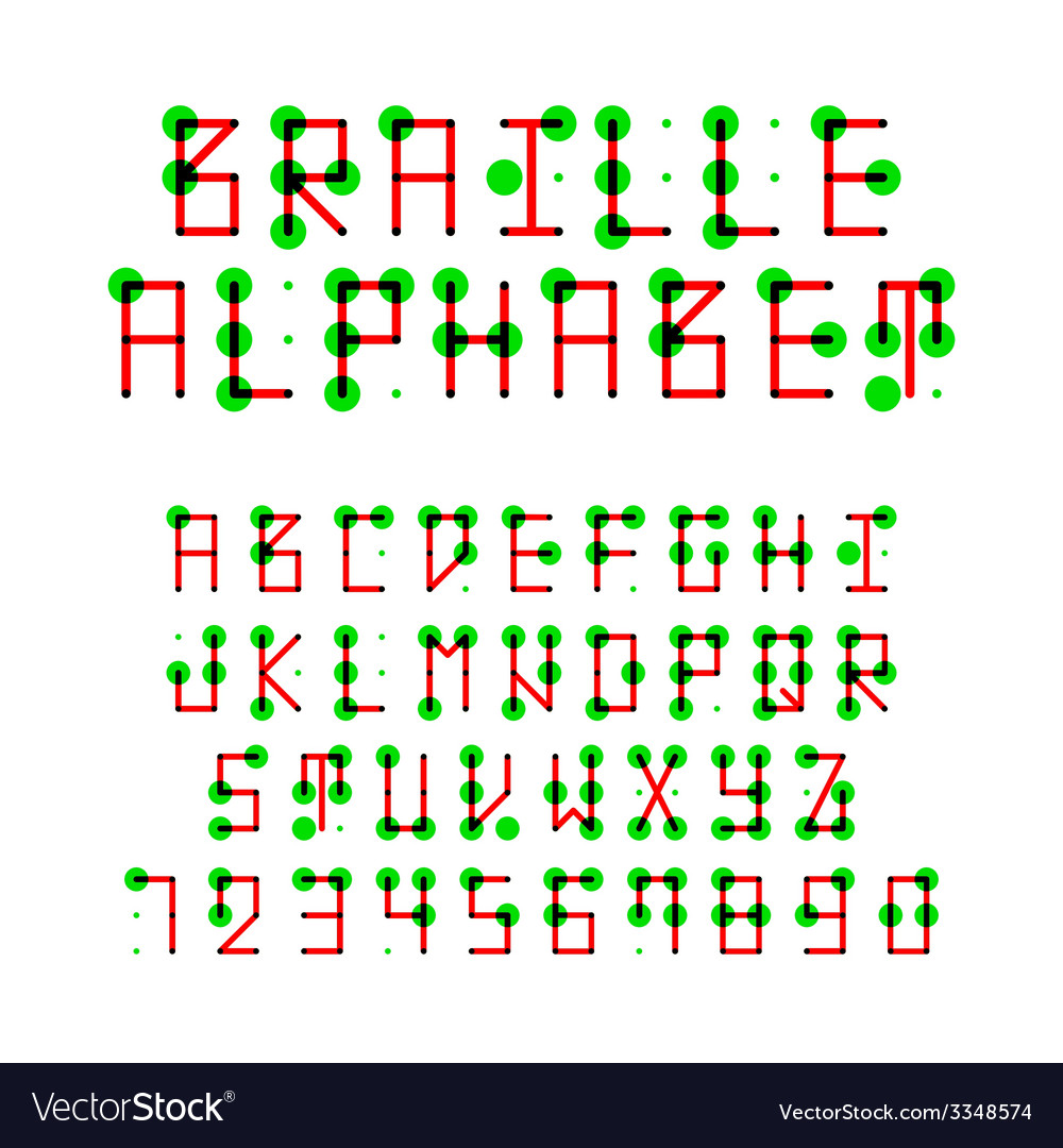 Braille alphabet and numbers vector | Price: 1 Credit (USD $1)